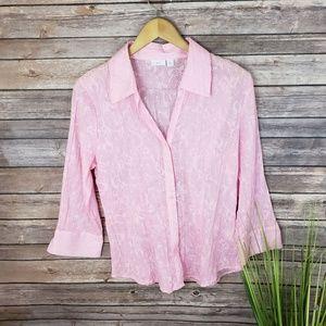 4/$20 Sale! Apt 9 Pink Sheer Floral Blouse Size L